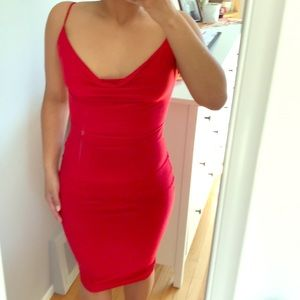 Red Cowl Neck Dress by Boohoo